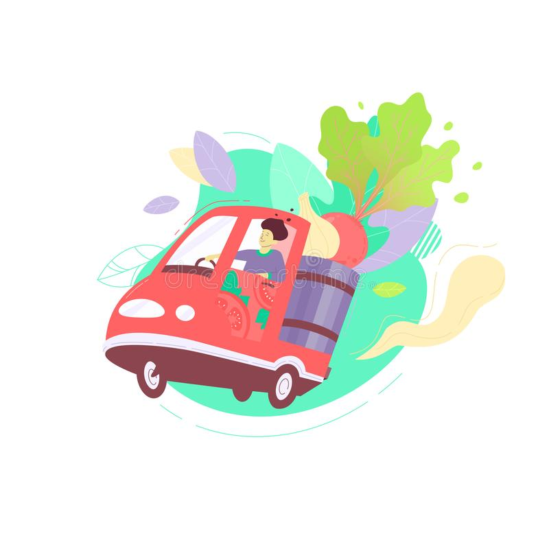 Local vegetables delivery. Vector illustration of a man delivering fresh local vegetables on electric scooter. Dynamic flat colorful illustration. Background or royalty free illustration