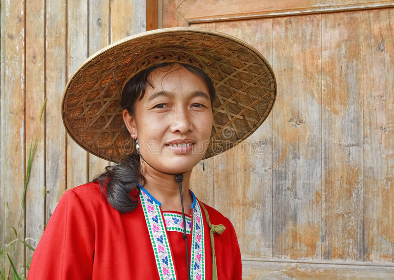 Local woman dressed in traditional clothing, Longji, China stock image