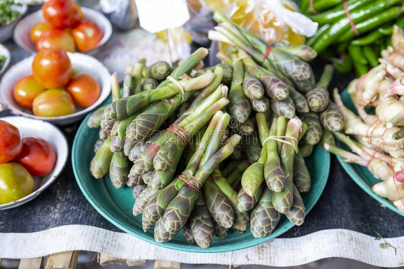 Local young flower vegetable, thai local vegetable. Fresh vegetables market in Thailand stock image