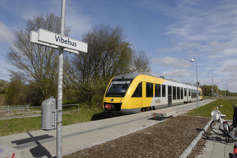 Localbane train. HUNDESTED/DENMARK. 28 April 2015 _Local bane train arrives at Vibe station in danish country side life (Photo by Francis Joseph Dean/ royalty free stock photography
