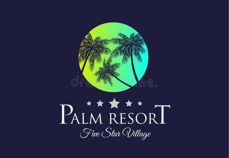 Località di soggiorno creativa Logodesign della palma per l'identità di marca tropicale del villaggio, profilo aziendale royalty illustrazione gratis