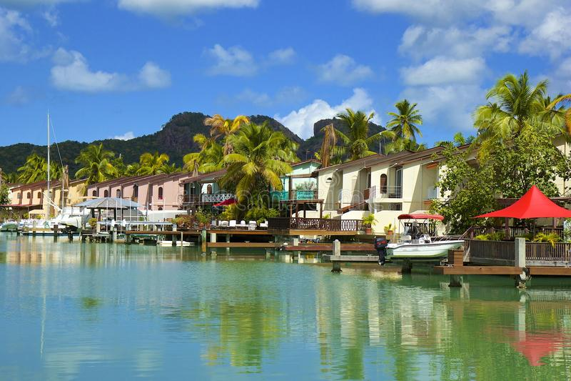 Località di soggiorno di lusso in Antigua, caraibica fotografia stock libera da diritti