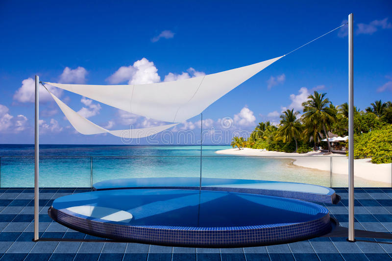 Località di soggiorno in Maldive, l'Eden di luna di miele di VIP su terra immagine stock
