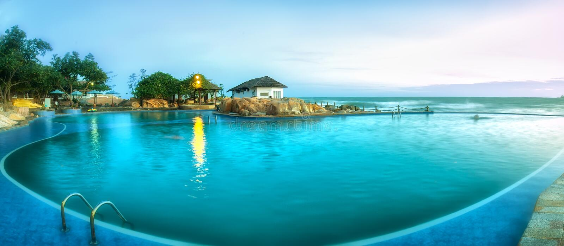 Località di soggiorno sulla spiaggia in Phan Thiet fotografie stock