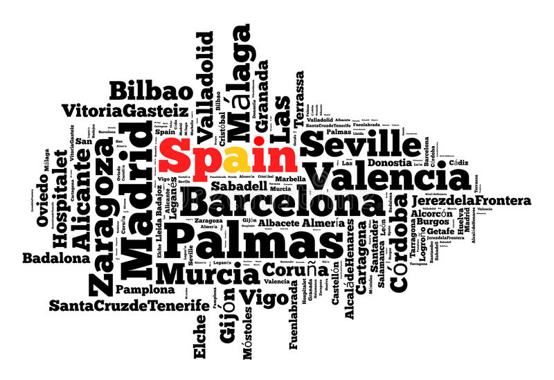 Localities in Spain. Word cloud concept stock photo