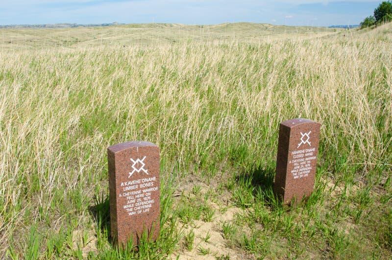 Localización de la marca de las lápidas mortuorias de los guerreros de Cheyenne foto de archivo