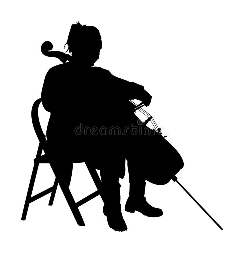 Localización de la silueta del vector del violoncelista y violoncelo jovenes el jugar en el fondo blanco Violoncelo del juego del ilustración del vector