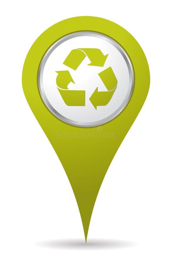 Localización que recicla el icono stock de ilustración