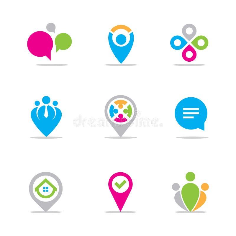 Localizando el vector fijado para el hombre de negocios y los empresarios ilustración del vector