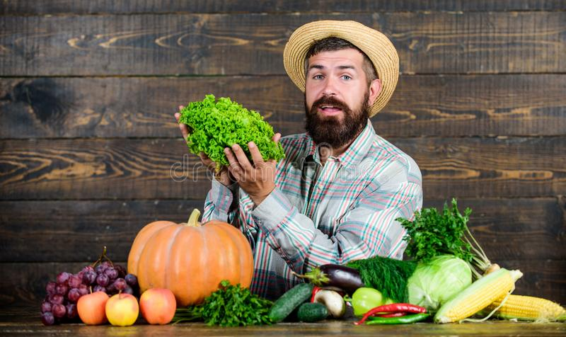 Locally grown crops concept. Buy vegetables local farm. Typical farmer guy. Farm market harvest festival. Man mature royalty free stock photo