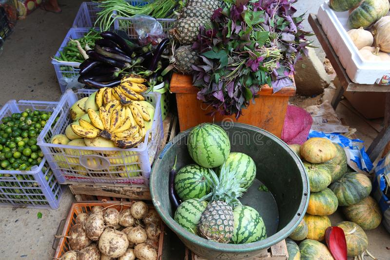 Locally grown fruit. And vegetables in El Nido market, Palawan island, Philippines stock image