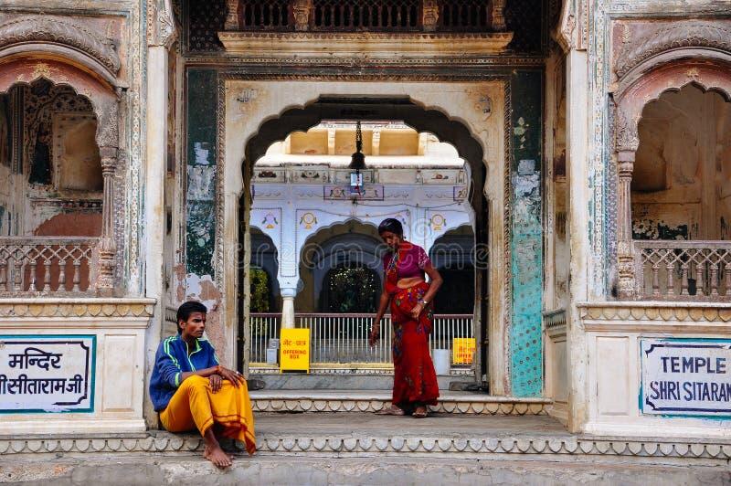 Locals at the Hanuman Temple, Jaipur, India. stock images