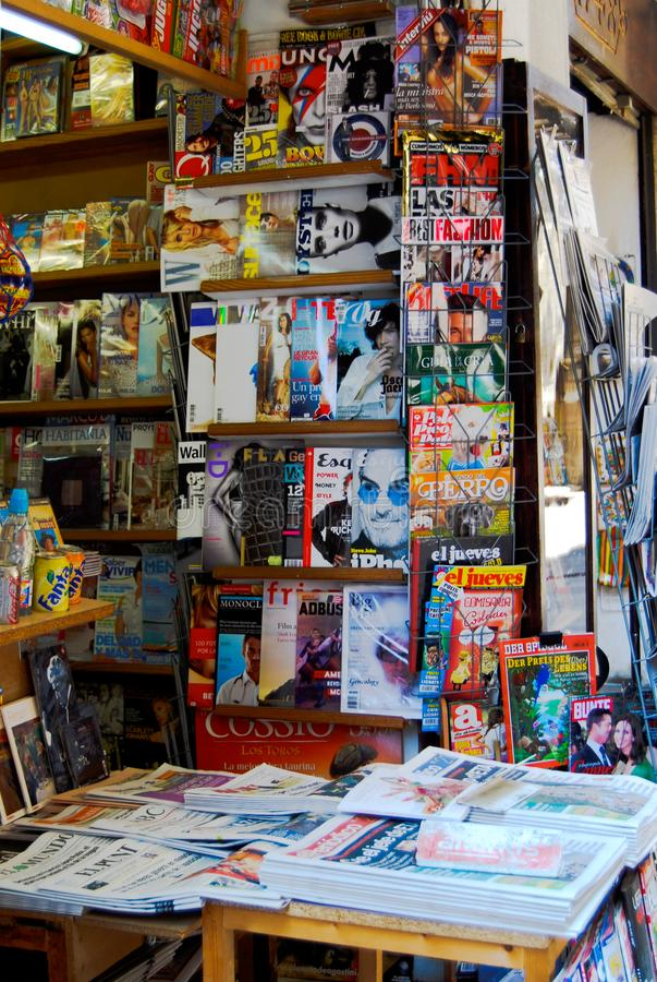 Newsstand Barcelona Europe Magazines Newspaper stock image