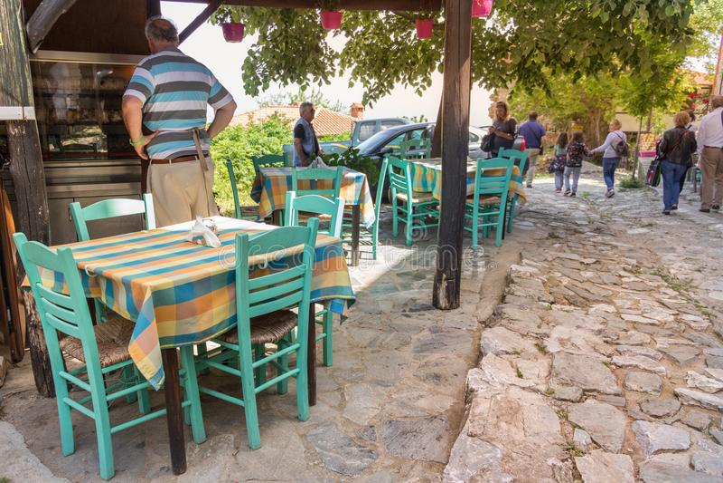 Locanda greca a Palios Panteleimonas fotografia stock