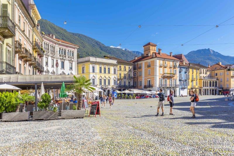 Locarno, canton Tessin, Suisse, le 5 septembre 2017 Centre de la ville de Locarno, canton Tessin, Suisse photographie stock