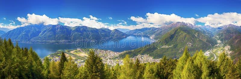 Locarno city and Lago Maggiore from Cardada mountain, Ticino, Switzerland royalty free stock photography