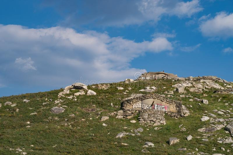 Old Bunkers in Vigo Bay. Located in Cabo Silleiro Silleiro cape is an old miitary system of bunkers and guns built there to protect south galicia coast. Great stock photography