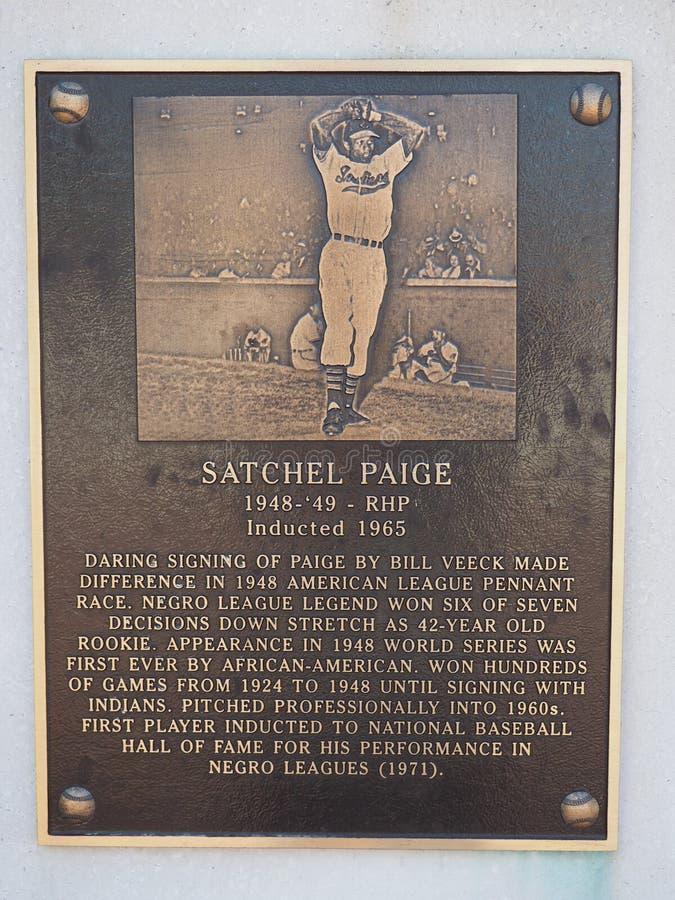 Satchel Paige - Heritage Park - Progressive Field - Cleveland - Ohio - USA. Located in the center field area of Progressive Field, Heritage Park hosts the stock photo