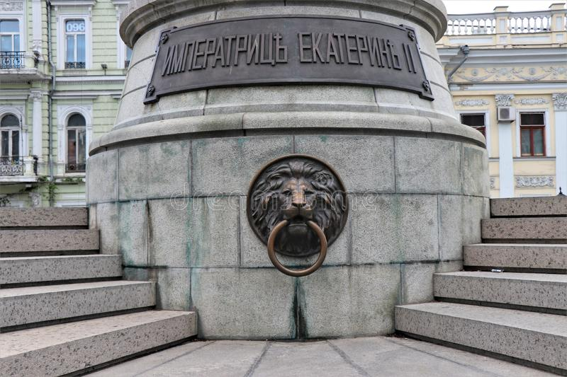 Lion head door knocker, located in the city center of Odessa, Ukraine. Located in the city center stock photography