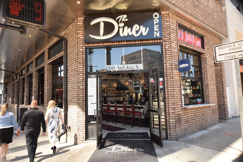 The Diner Restaurant Downtown Nashville, TN. Located on the corner of 3rd Avenue South & Demonbreun, The Diner is a staple of Downtown Nashville`s SoBro district royalty free stock photography