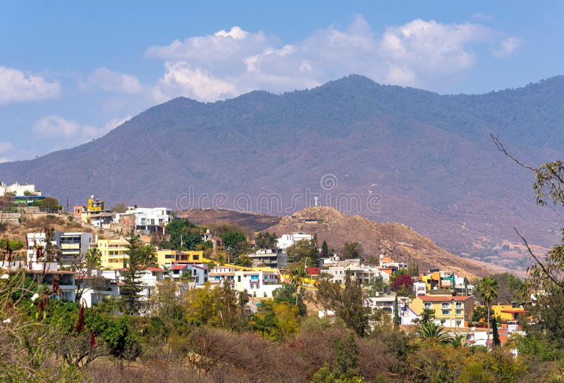 View on Oaxaca City from amphitheatre. Located in Mexico Central Valley, Oaxaca is famous for its art and crafts production royalty free stock image