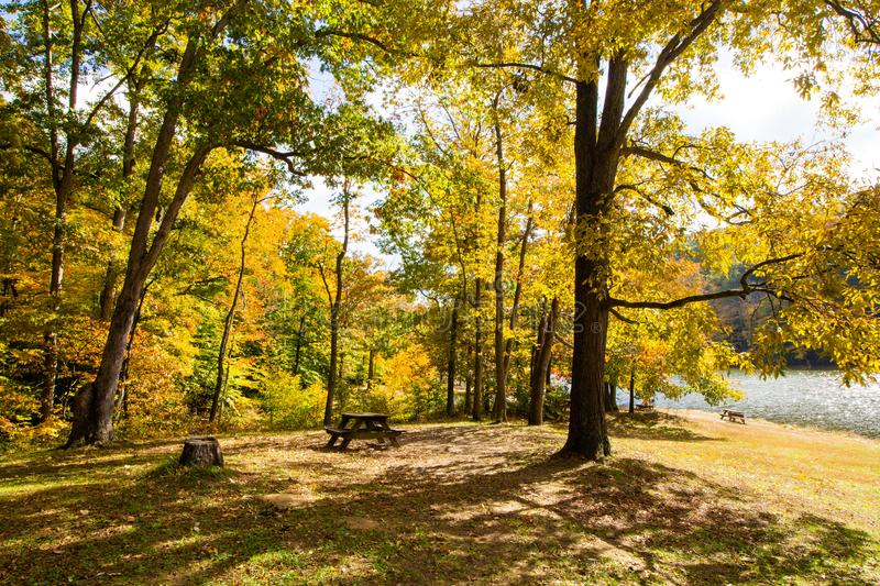 Fall on Ogle Lake, Brown County State Park, Indiana royalty free stock photography