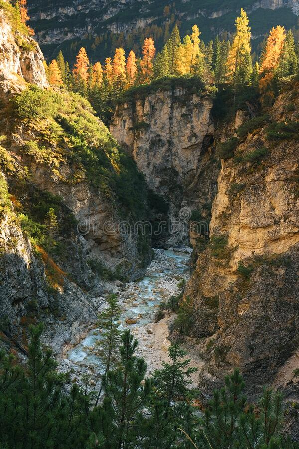 Fanes Waterfall in the Dolomites, in a sunny autumn day. stock images