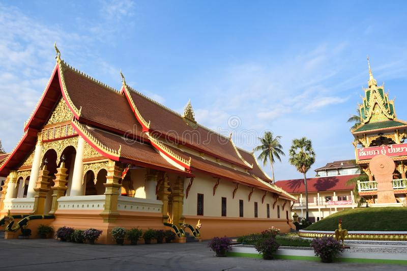 Wat Ong Teu Mahawihan in Vientiane, Lao. Located on Setthathirath Street, Wat Ong Teu Mahawihan is one of the most important temples in Laos, where a bronze stock photos