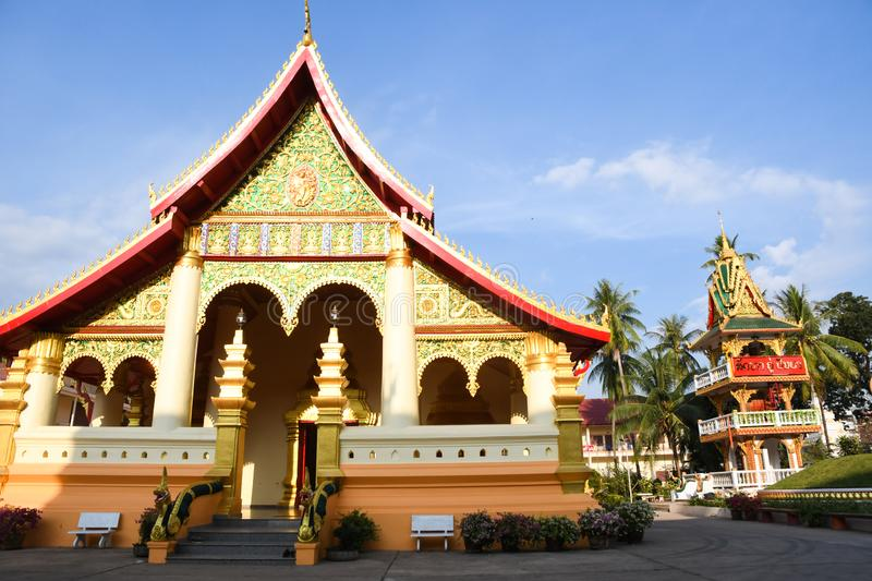 Wat Ong Teu Mahawihan in Vientiane, Lao. Located on Setthathirath Street, Wat Ong Teu Mahawihan is one of the most important temples in Laos, where a bronze stock images