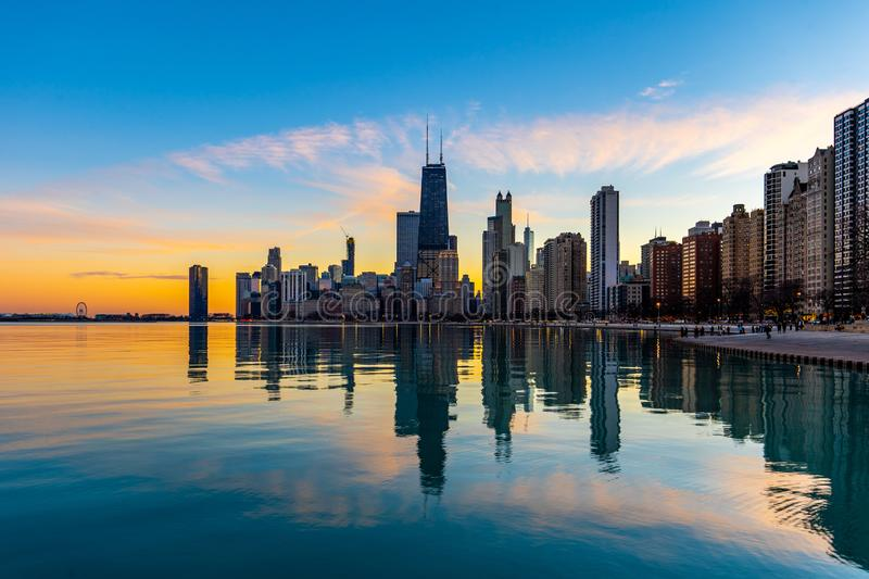 Chicago. Located on the shores of Lake Michigan, Chicago was incorporated as a city in 1837 near a portage between the Great Lakes and the Mississippi River royalty free stock photos