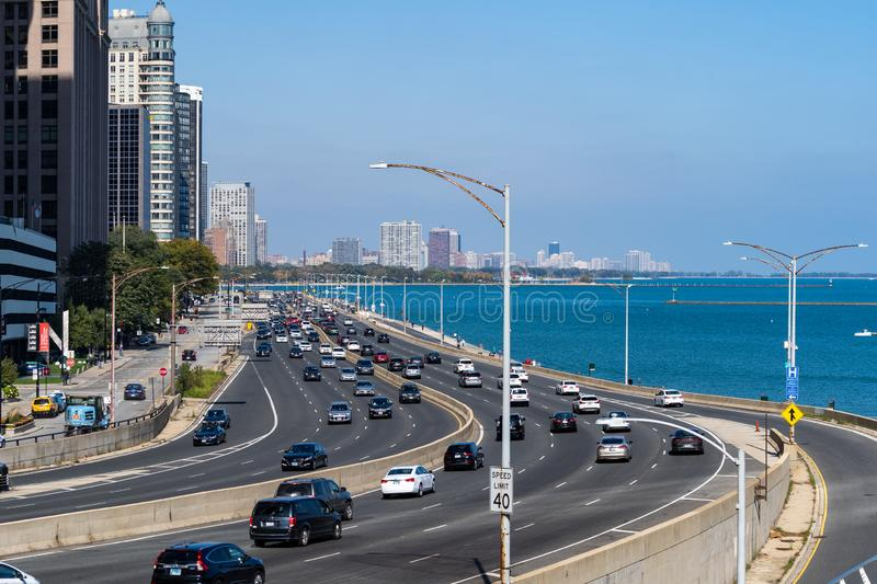 Chicago. Located on the shores of Lake Michigan, Chicago was incorporated as a city in 1837 near a portage between the Great Lakes and the Mississippi River royalty free stock photo