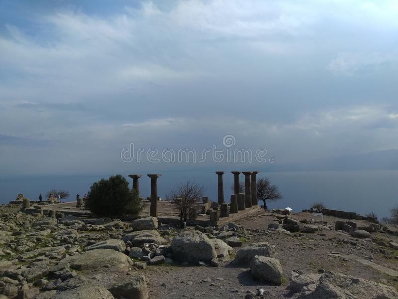 Assos Athena Temple. It is located in the Turkey nears Troy ancient city. assos athena temple stock photos
