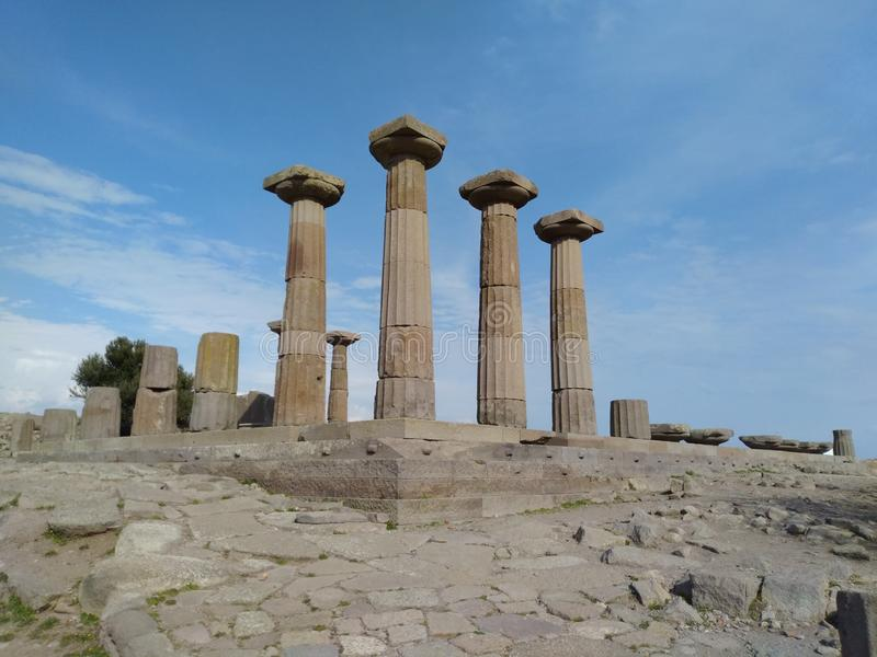 Assos Athena Temple. It is located in the Turkey nears Troy ancient city. assos athena temple stock photography