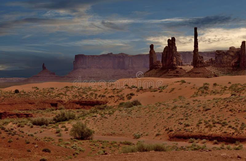 Sunset over Monument Valley Rock Formations royalty free stock image