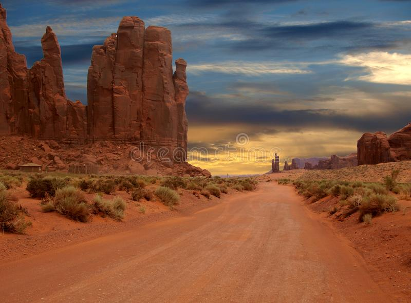 Sunset over Monument Valley Rock Formations stock images
