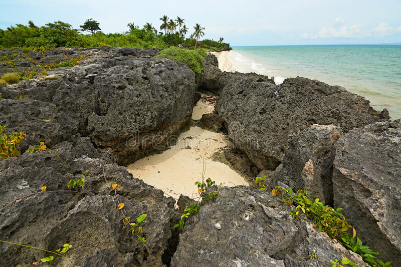 Rock formation on the beach at Bantayan Island, Philippines royalty free stock image