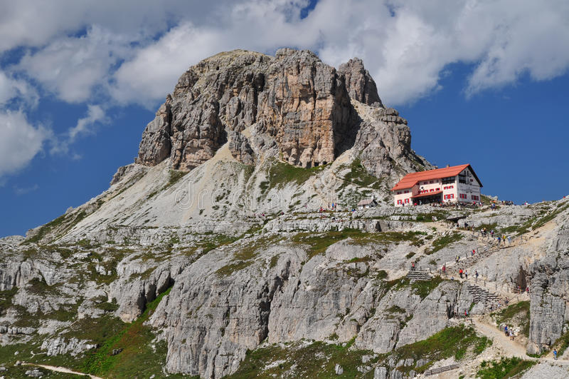 Locatelli chalet, Dolomites Mountains royalty free stock photography