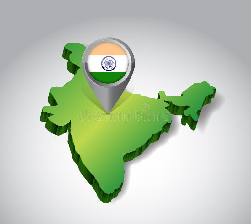 Locating India concept illustration design. Over a white background vector illustration