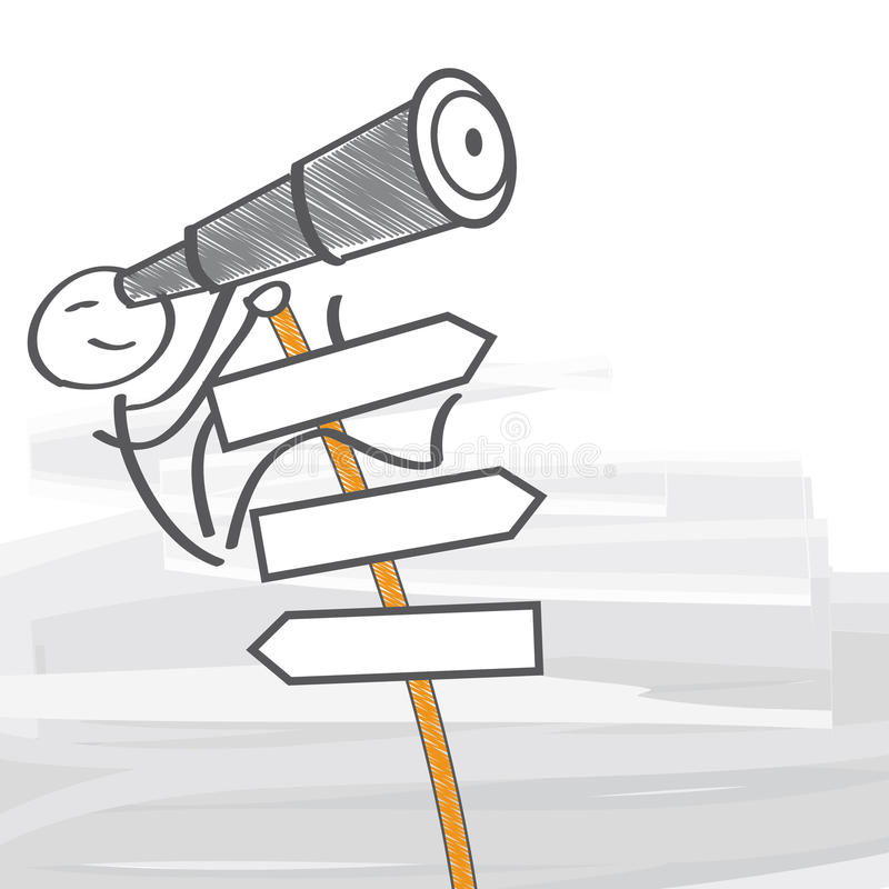 Locating. Man with telescope climbs a signpost stock illustration