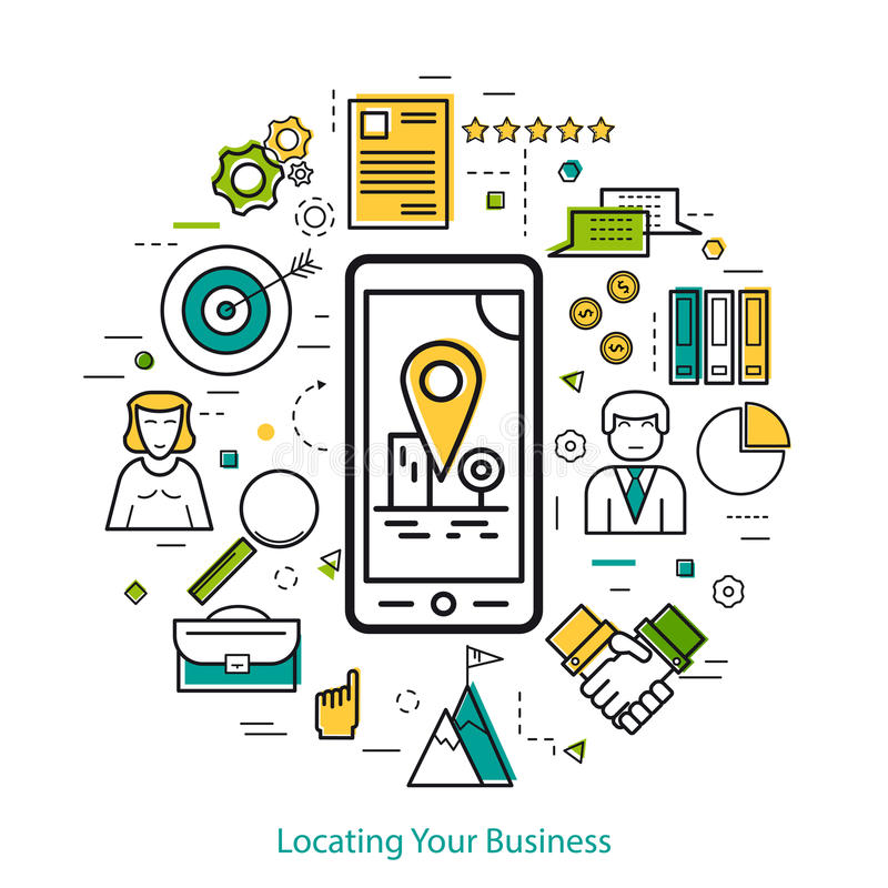 Locating Your Business - LineArt. Vector Locating Your Business Round Concept in Thin Line Art Style. Smart phone with location pointer in the city and business vector illustration