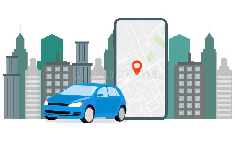 Location de voiture de navigation d'illustration de bannière Le stationnement de voiture de données de GPS d'affichages d'écran E illustration de vecteur