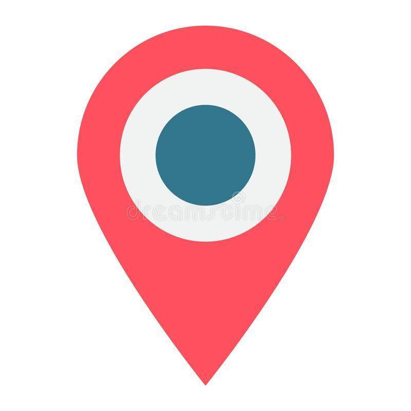 Location flat icon, map pin and website button royalty free illustration
