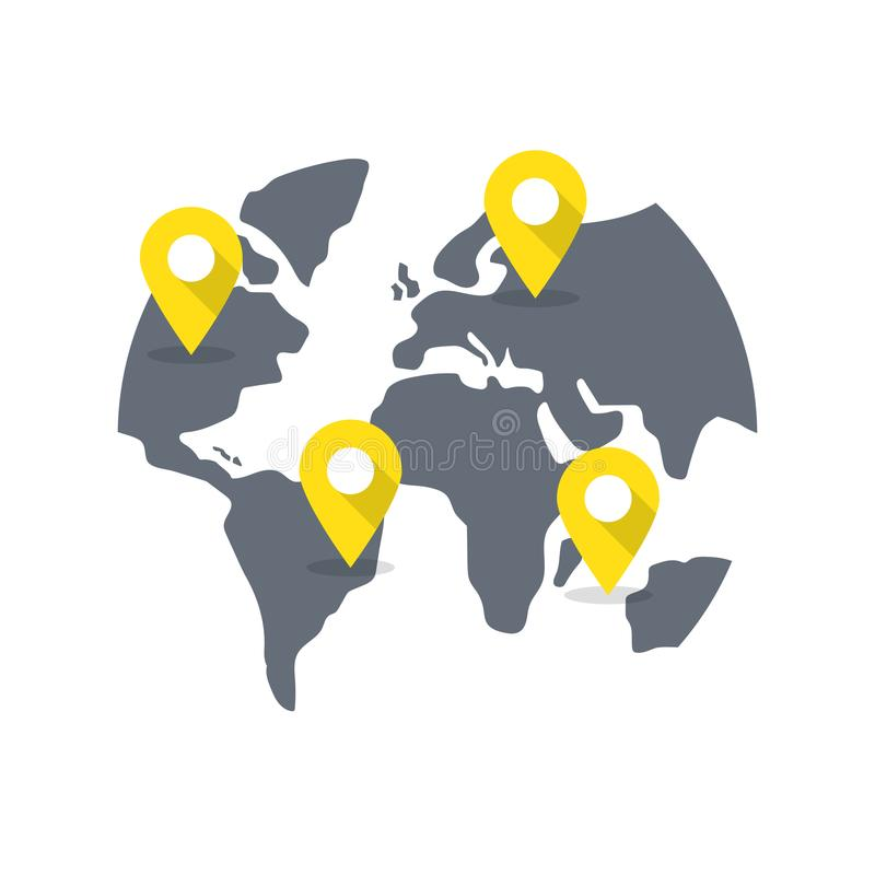 World map with destination pins. royalty free illustration
