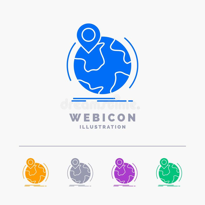 Location, globe, worldwide, pin, marker 5 Color Glyph Web Icon Template isolated on white. Vector illustration. Vector EPS10 Abstract Template background vector illustration