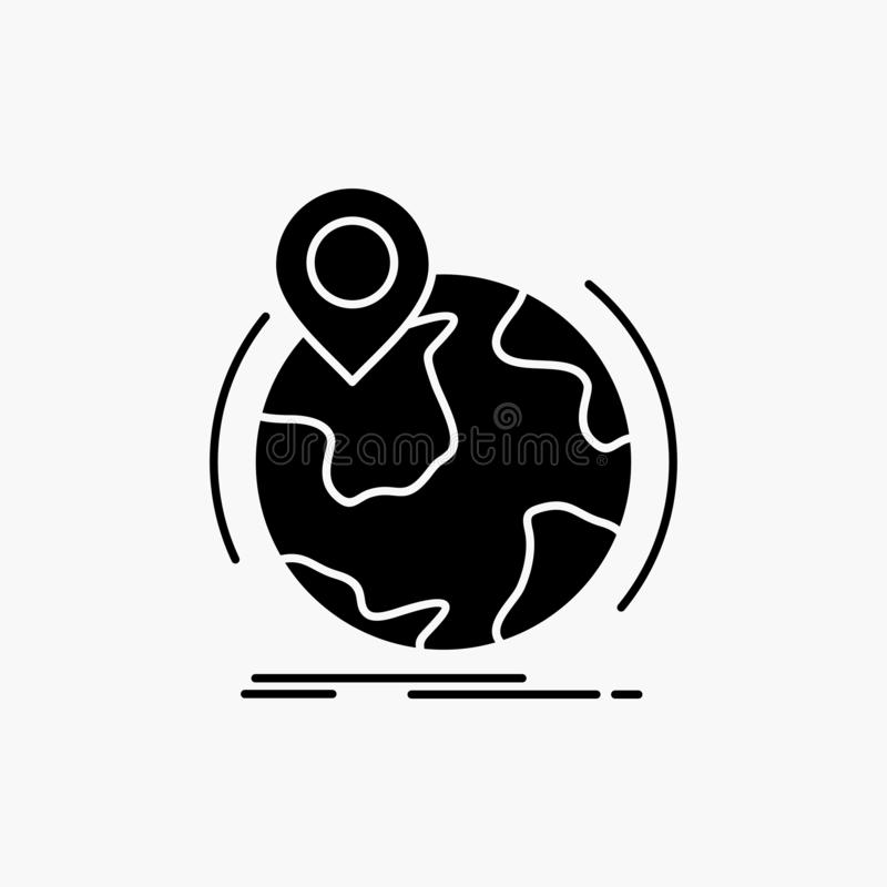 Location, globe, worldwide, pin, marker Glyph Icon. Vector isolated illustration. Vector EPS10 Abstract Template background stock illustration