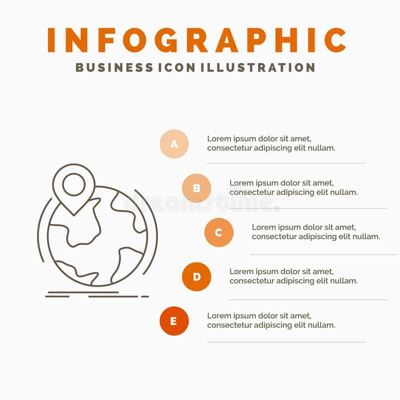 Location, globe, worldwide, pin, marker Infographics Template for Website and Presentation. Line Gray icon with Orange infographic. Style vector illustration royalty free illustration