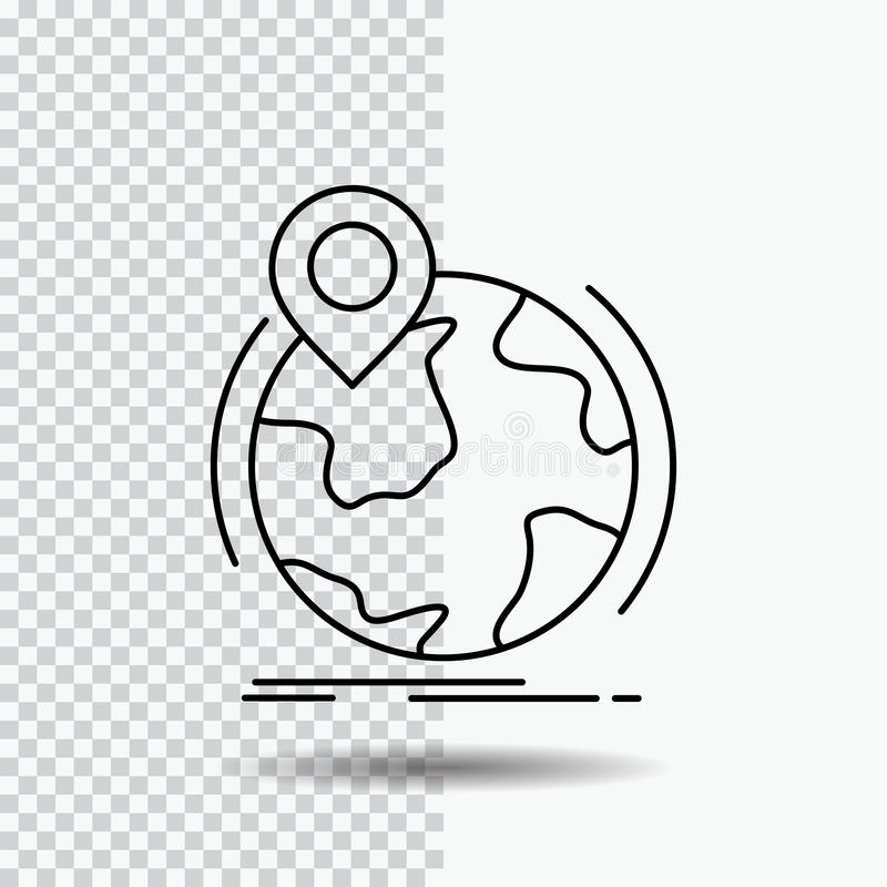 Location, globe, worldwide, pin, marker Line Icon on Transparent Background. Black Icon Vector Illustration. Vector EPS10 Abstract Template background vector illustration
