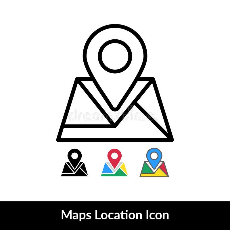 Location Icon. GPS Maps Icon Vector with 4 different style. Isolated on white background vector illustration