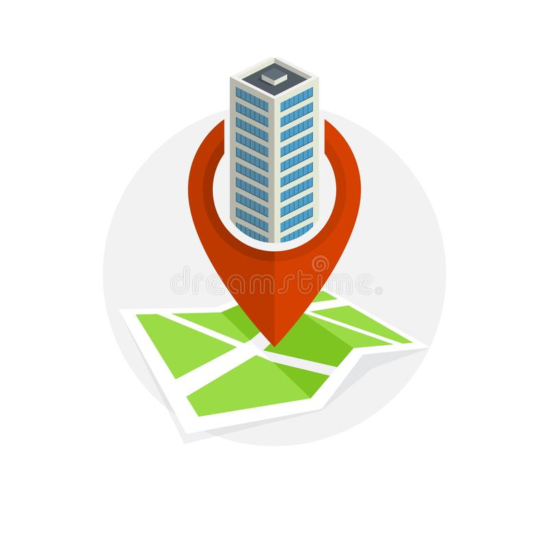Location Icon. Locating Your Business. Flat Design. Isolated Illustration stock illustration
