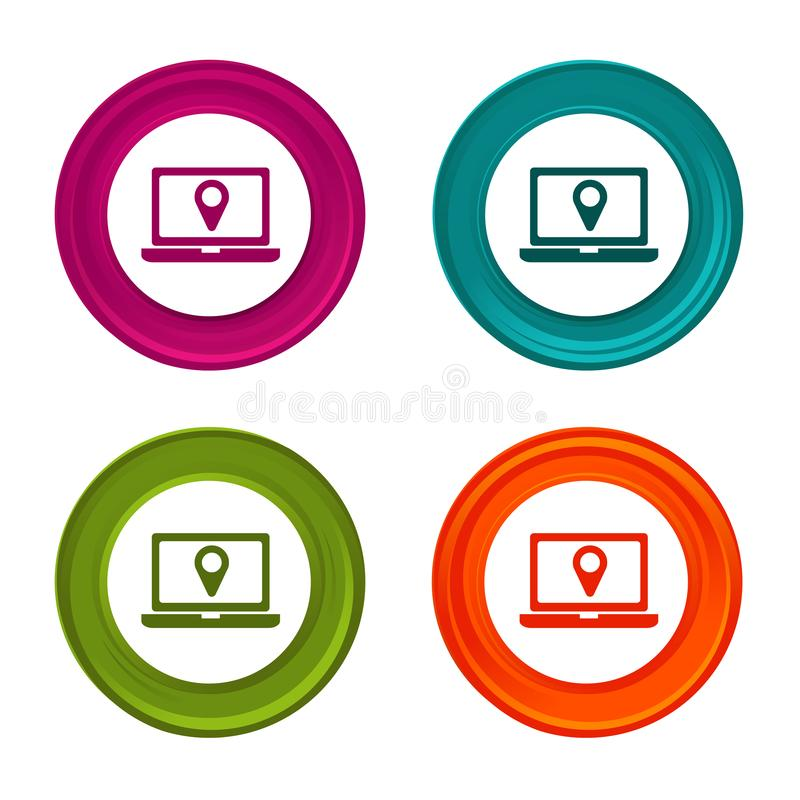 Location icons. Laptop signs. Shopping symbol. Colorful web button with icon. royalty free illustration